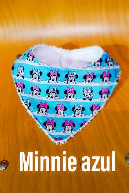 Bandana babero bebe Minnie azul