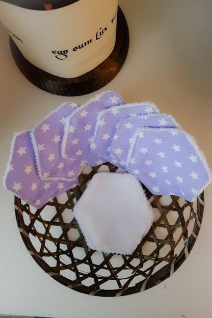 Discos desmaquillantes reutilizables Estrellas lila