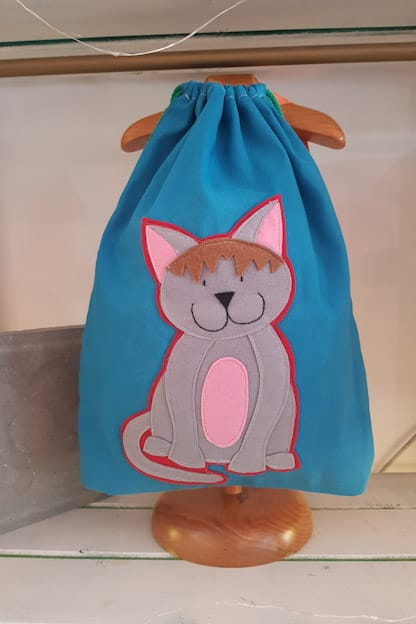 mochila infantil gato azul