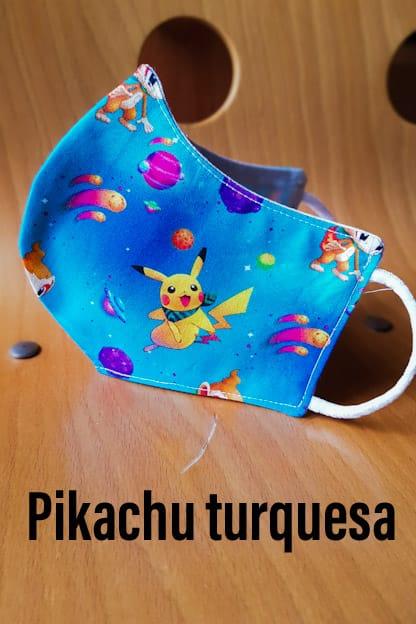 mascarilla de tela Pikachu turquesa
