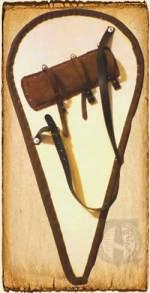 Escudo de lágrima con las embrazaduras y el tahalí.