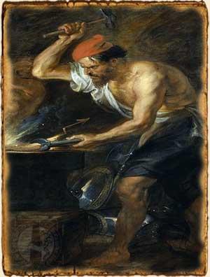 Mitología Griega - Hefesto en su fragua