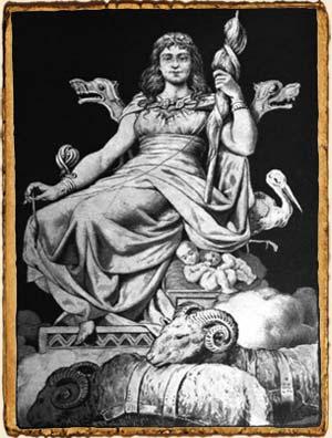 Mitología Nórdica - Frigg con su rueca en Hlidskjalf