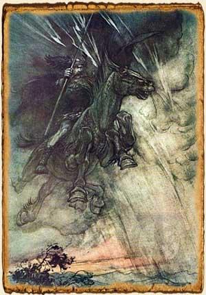 Mitología nórdica, Odín cabalgando a Sleipnir