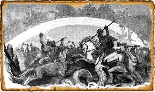 Surtur, Odín ,Thor, Fenrir y otros dioses luchando en el Ragnarok