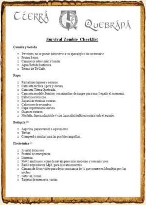 Survial Zombie Checklist