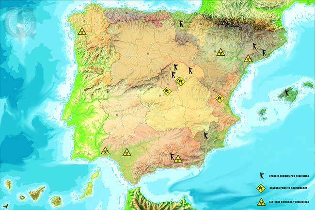 Mapa infecciones y ataques zombies