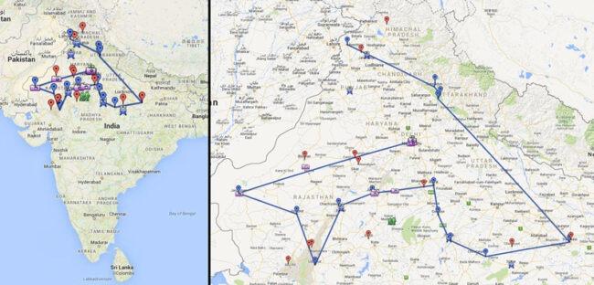 mapa ruta india