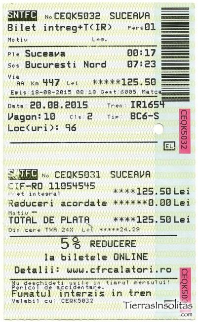 billete tren en rumanía