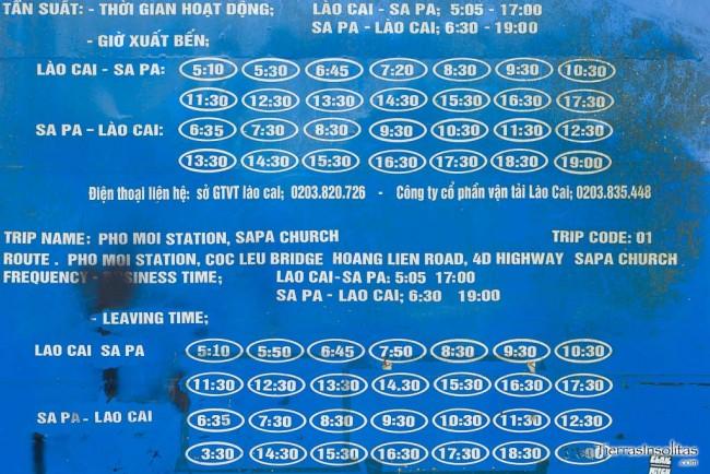 horario autobus lao cai sapa