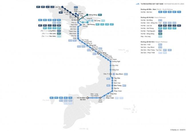 mapa rutas trenes en vietnam