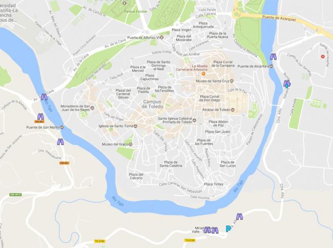 mapa ubicación miradores de toledo