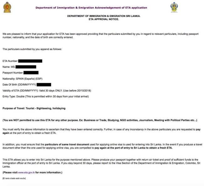 aprobación visado de sri lanka para españoles