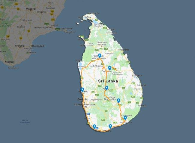 mapa viajar a sri lanka por libre