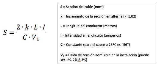 fórmula sección cable corriente alterna monofásica