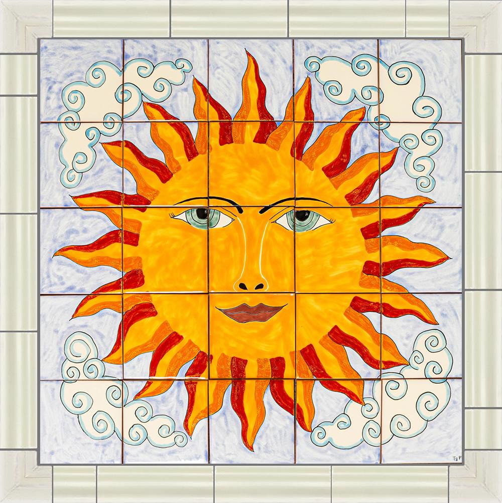 bright sun ceramic tile mural