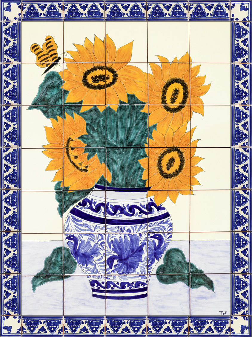 sunflower bouquet 1 ceramic tile mural
