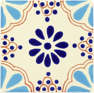 4 25 x 4 25 turquoise blue lace talavera mexican tile