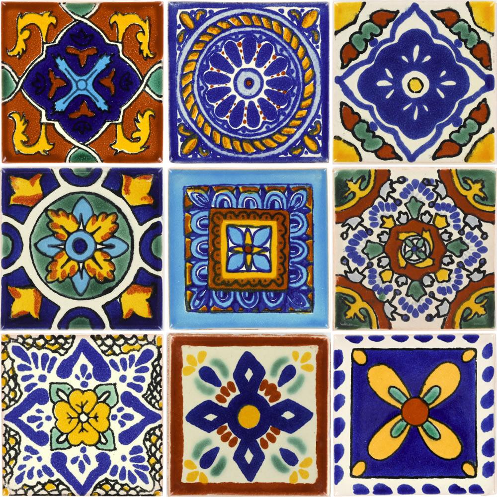 set of 9 individual tiles 2 x 2 talavera mexican tile set