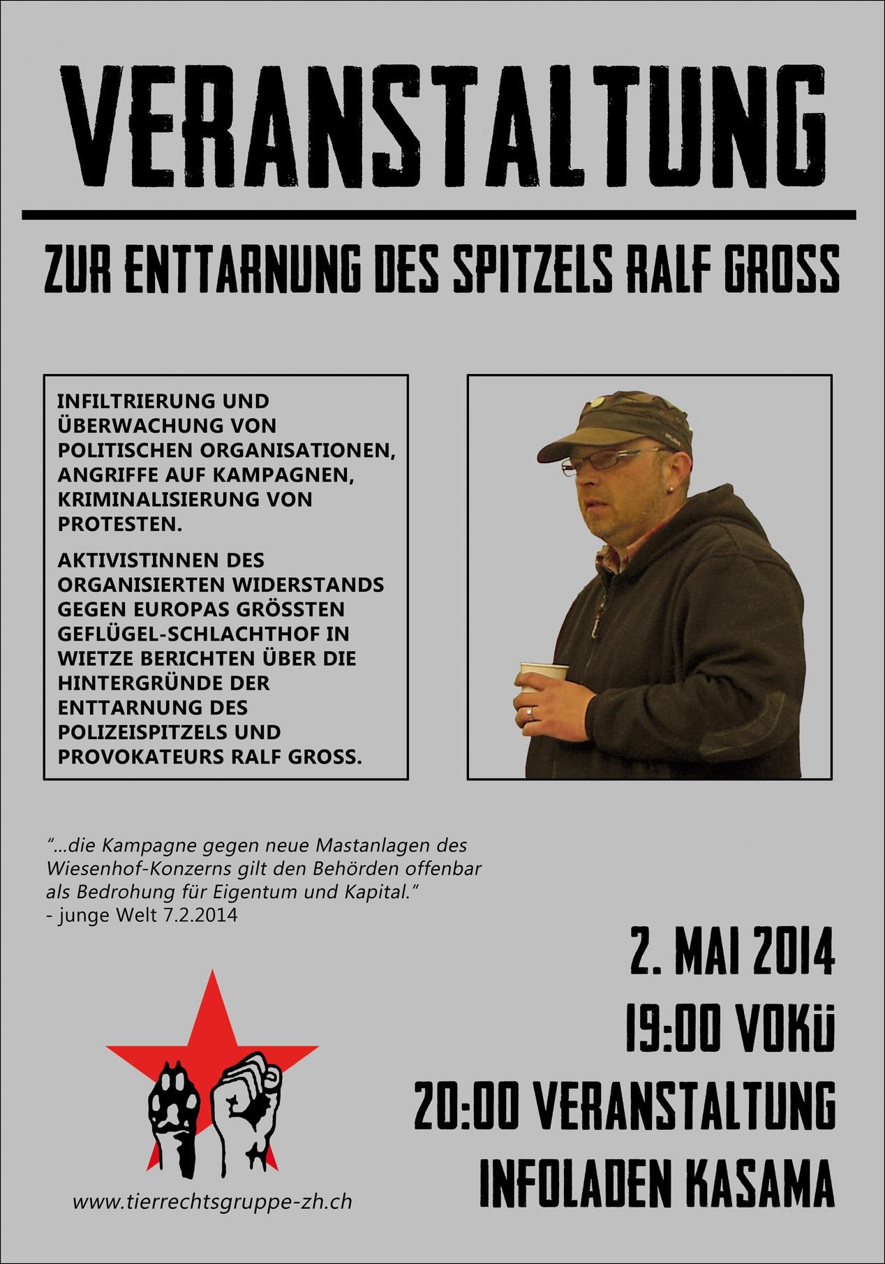 Vortrag Spitzel Enttarnung Wietze Ralf Gross Zürich