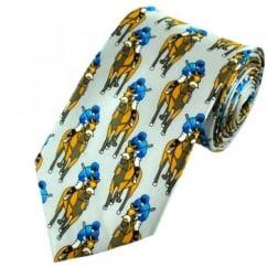 Silver Horse Racing Silk Tie