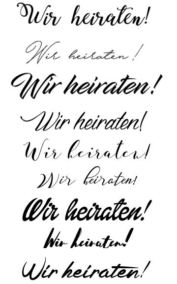 Schriftarten für die Hochzeit: Kursive und verspielte Fonts