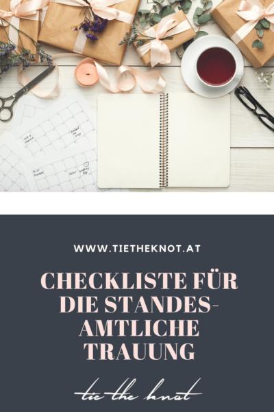 Checkliste für die standesamtliche Trauung