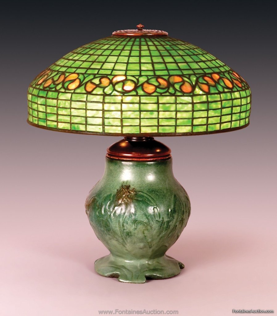 Tiffany lemon leaf table lamp on a rookwood pottery base 18 share this mozeypictures Image collections