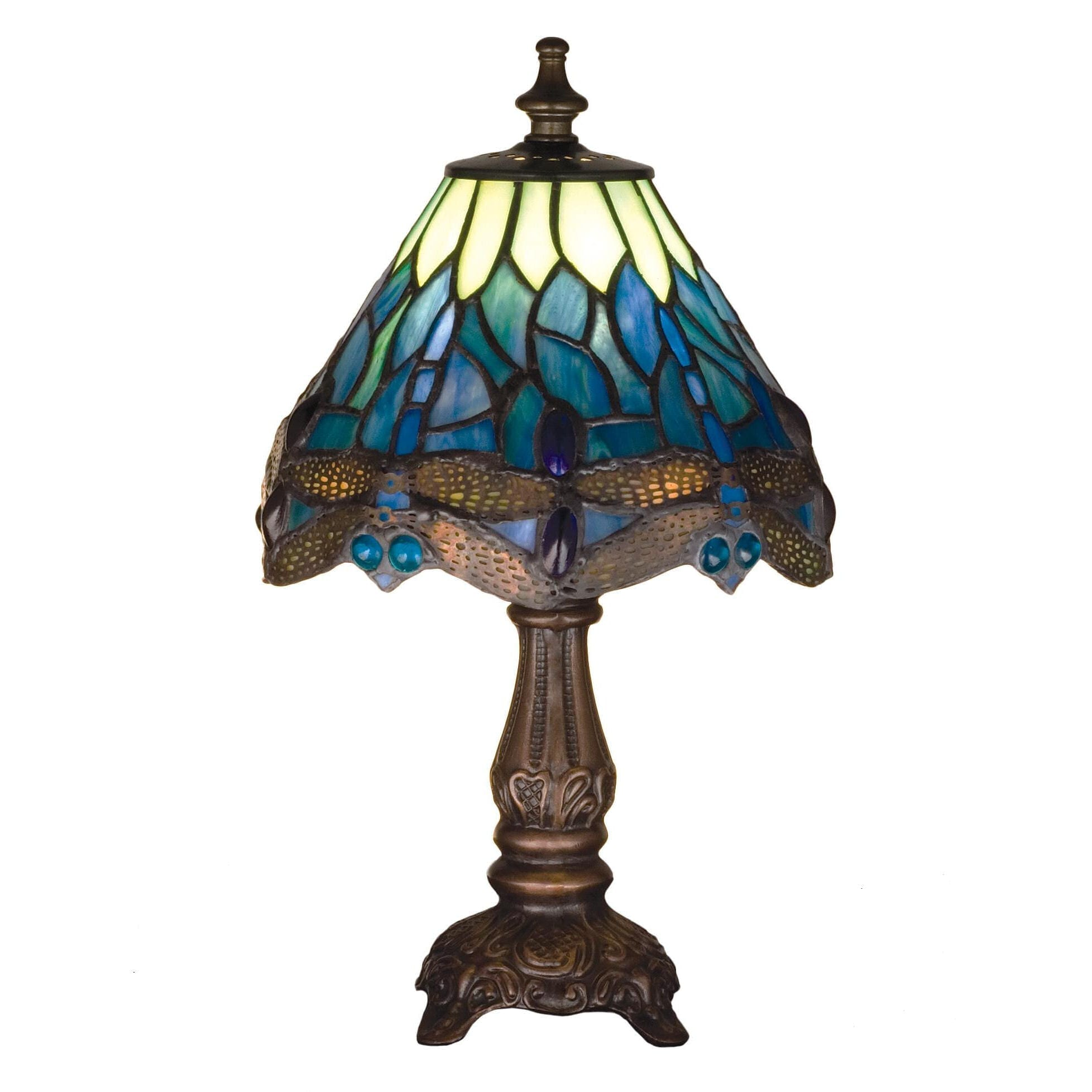 Small Tiffany Blue Dragonfly Lamp Romantic Dinner Table Lighting