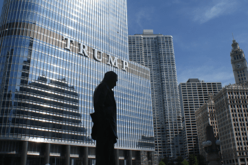 picture of Trump tower with silhouette