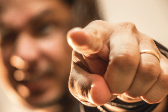 Man pointing finger.