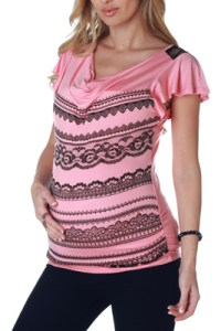 Pink Lace Print Maternity Top