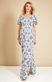 Kimono Maternity Maxi Dress Porcelain Blue