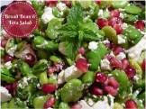 Broad Bean & Feta Salad w Pomegranate seeds and mint leaves