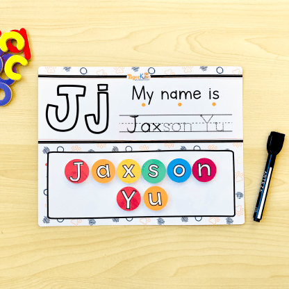 Teach your child to write their name using TigerKubz's personalized name recognition learning mat