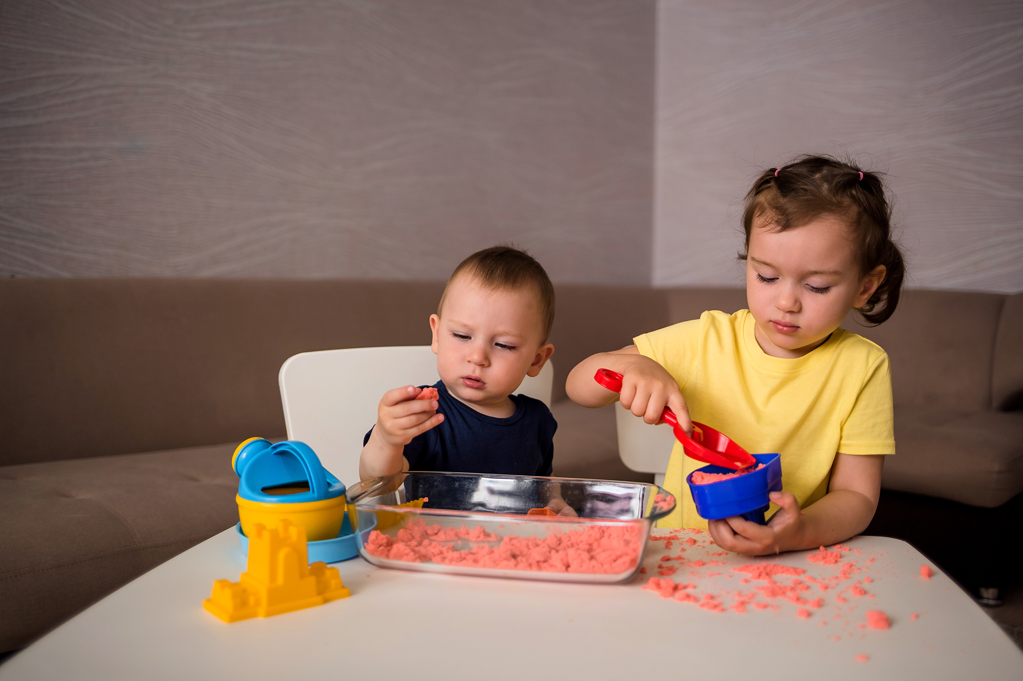 Sensory bins are containers filled with different objects that encourage children to use all their senses