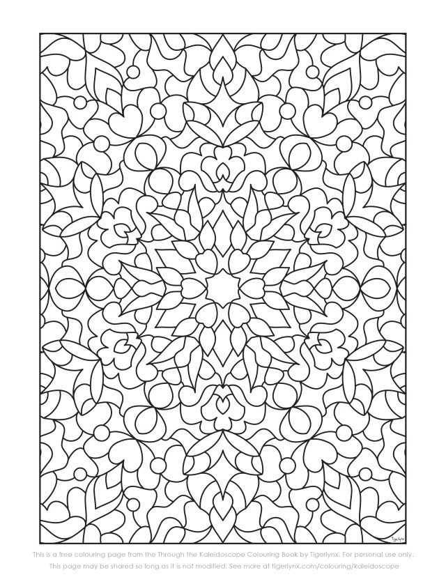 Kaleidoscope coloring pages to print free