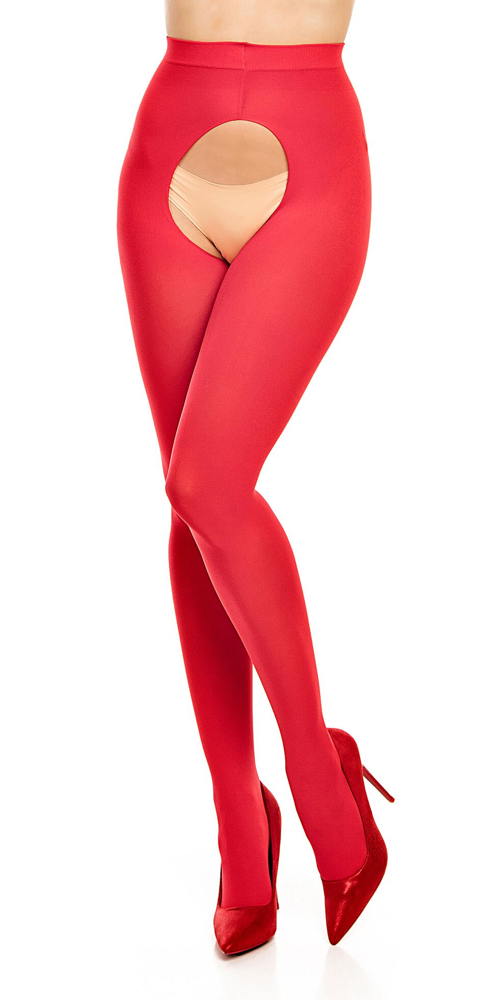 Opaque plus size tights with open crotch