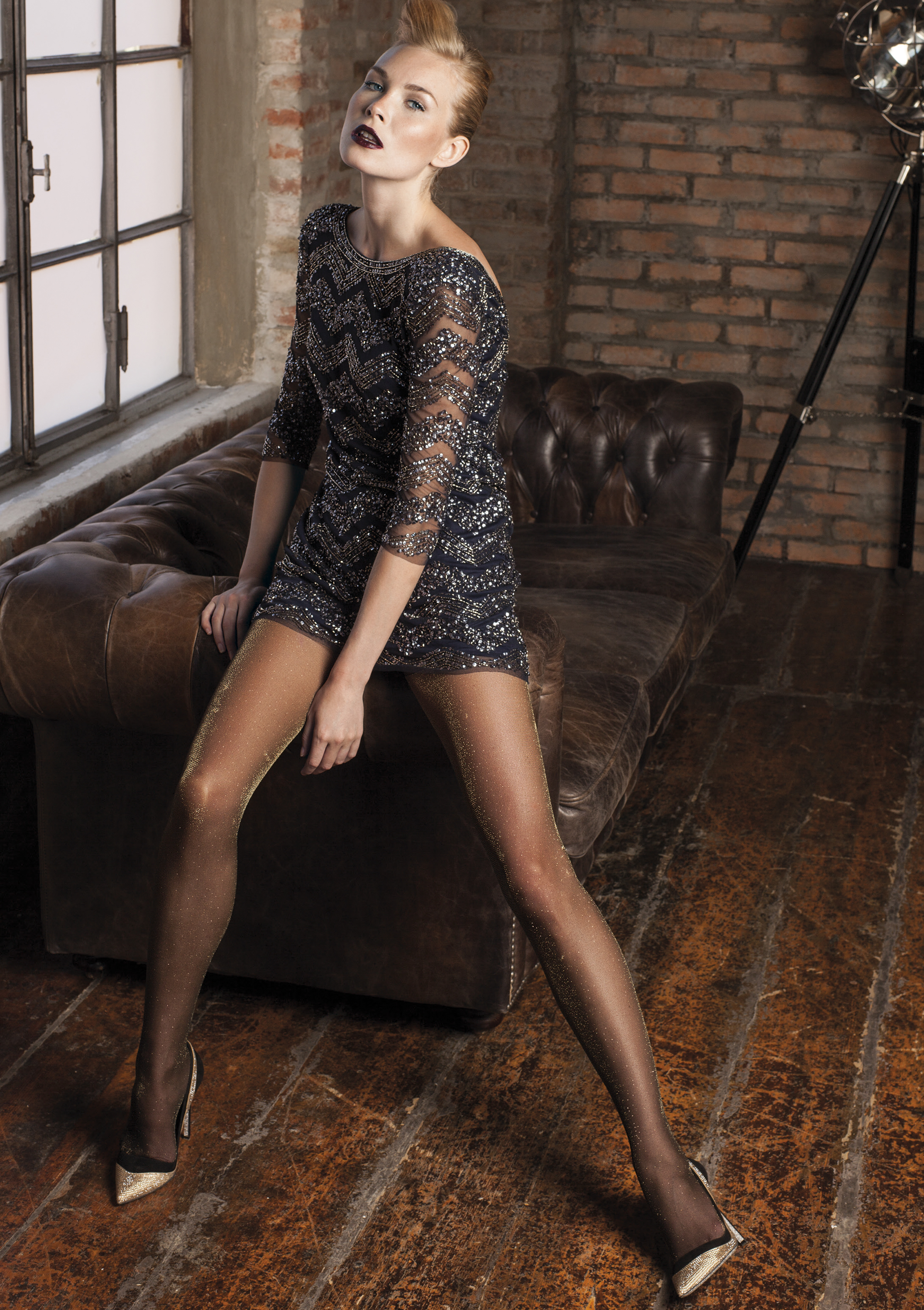 Trasparenze Vlinder - Elegant glitter tights with lurex effect
