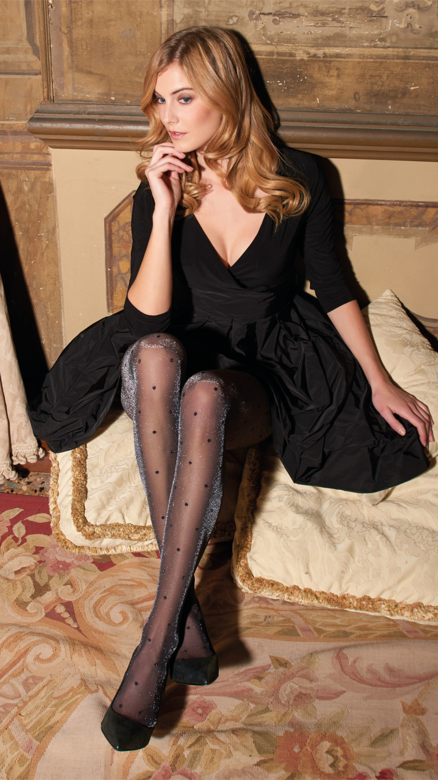 Trasparenze Dios - Elegant glitter tights with lurex effect and polka dots