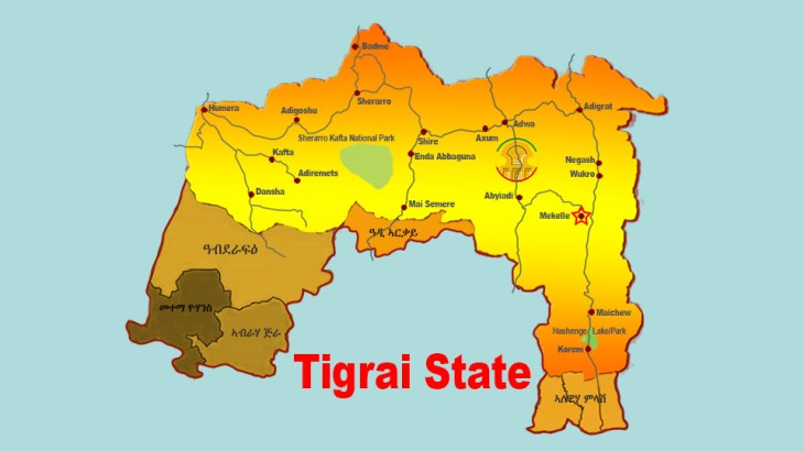 Map of Tigrai with complete land claims