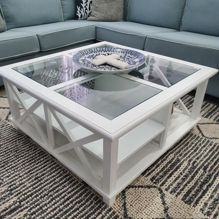 emily hamptons style timber square glass top coffee table white 100cml x 100cmd x 45cmh