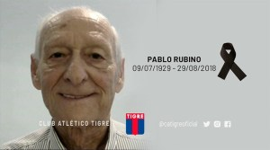 Dolor por el fallecimiento de Pablo Rubino