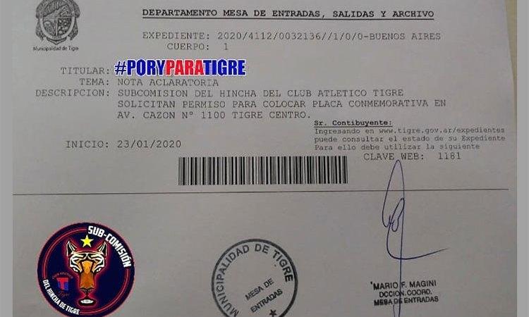 Solicitud a la municipalidad de Tigre
