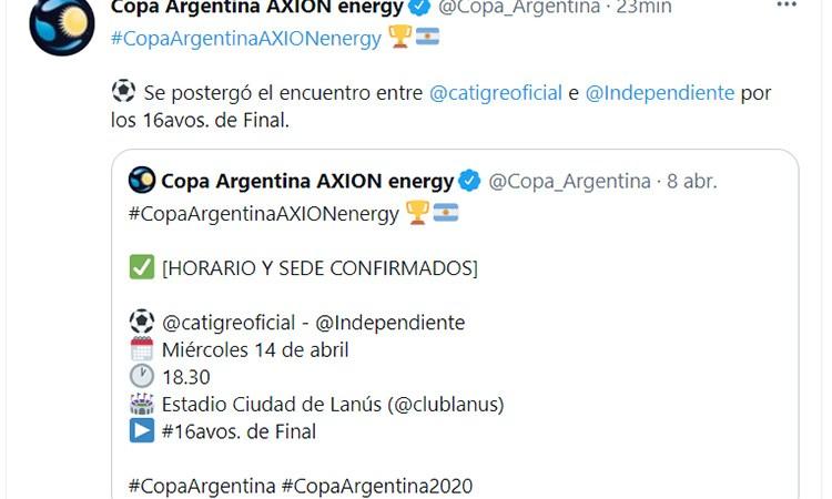 Tigre – Independiente fue POSTERGADO