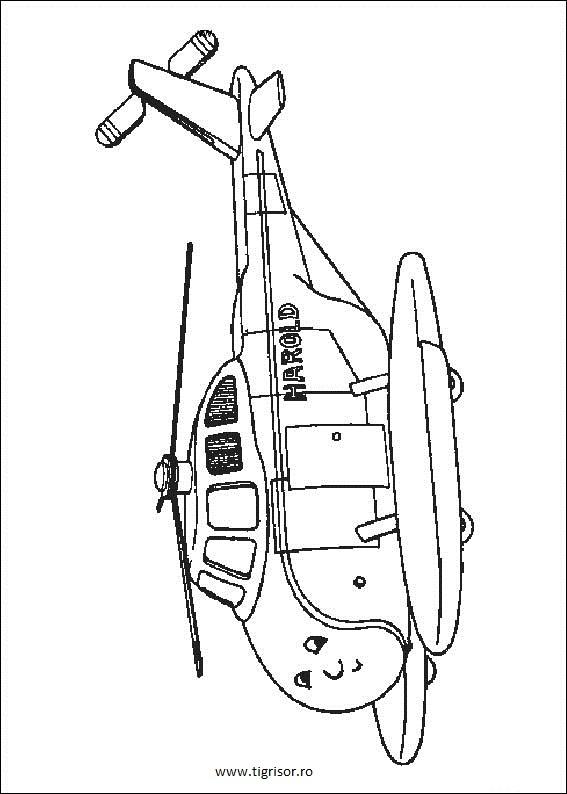 Plansa De Colorat Cu Elicopterul Harold Din Thomas
