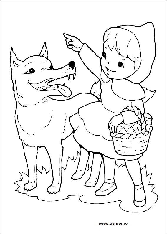 Scufita Rosie Poveste Cu Desene De Colorat Tigrisorro