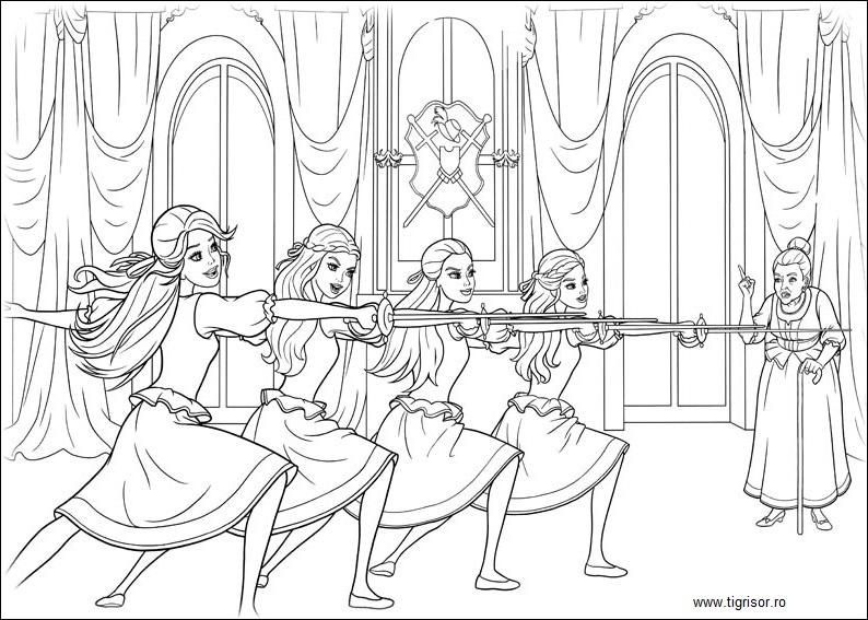 barbie si cei trei muschetari  plansa de colorat 13
