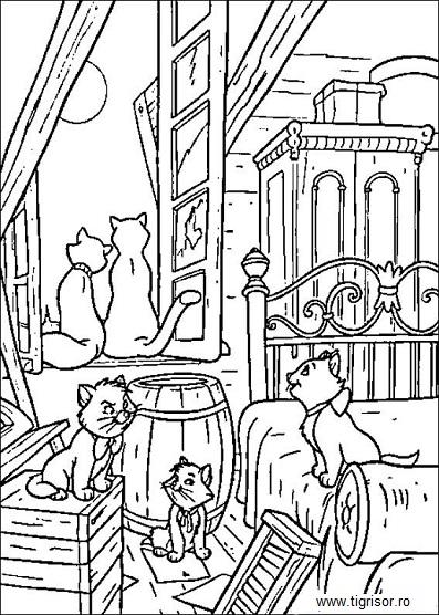 Plansa De Colorat Cu Pisicile Aristocrate Plansa 11