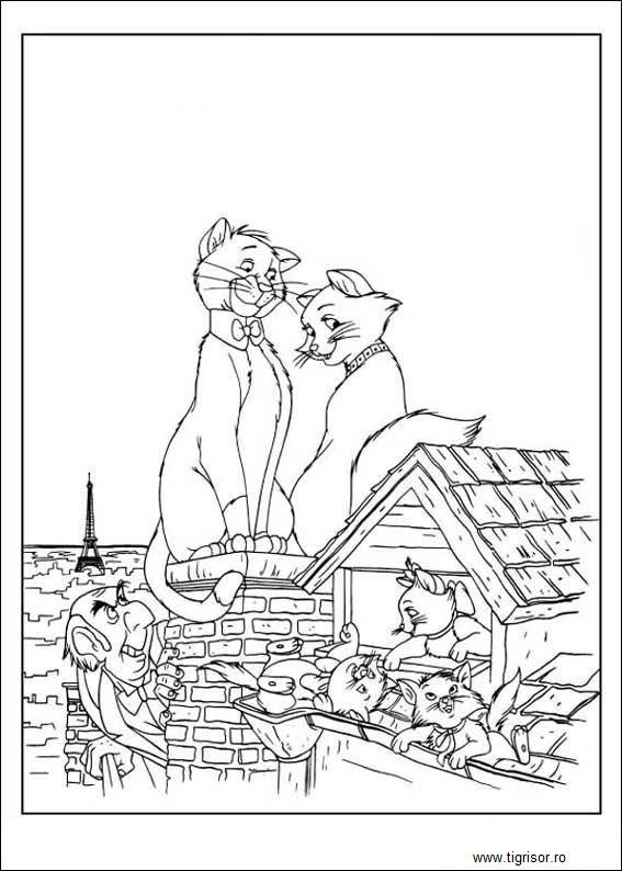 Plansa De Colorat Cu Pisicile Aristocrate Plansa 12